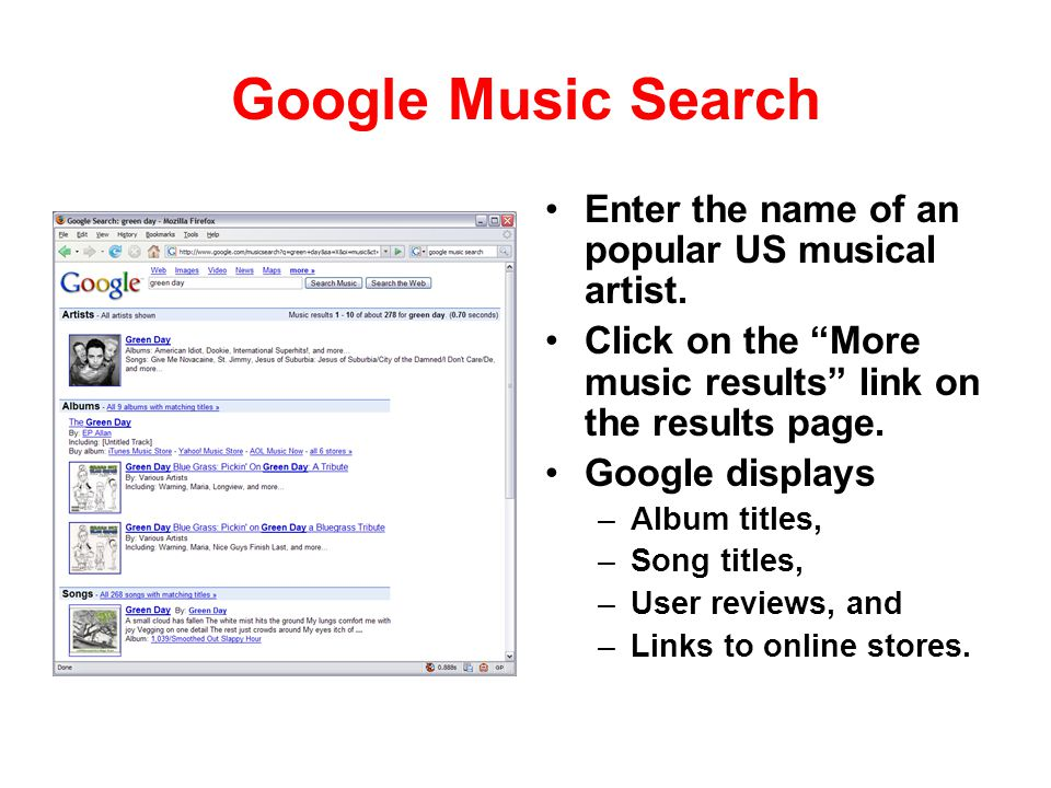 Google Music Search Enter the name of an popular US musical artist.