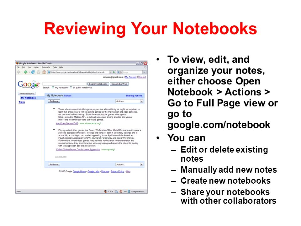 Reviewing Your Notebooks