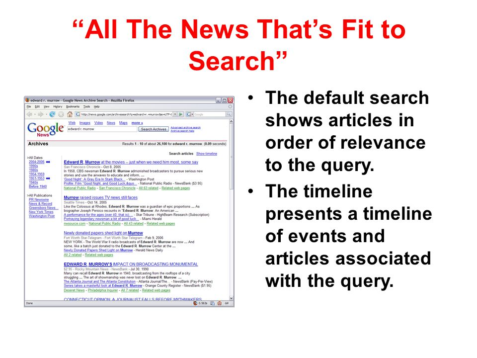 All The News That's Fit to Search