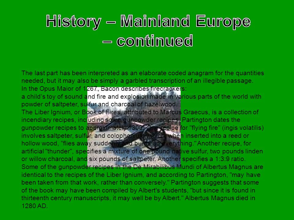 History – Mainland Europe – continued