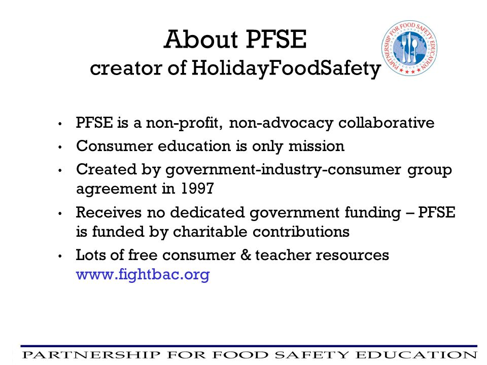 About PFSE creator of HolidayFoodSafety