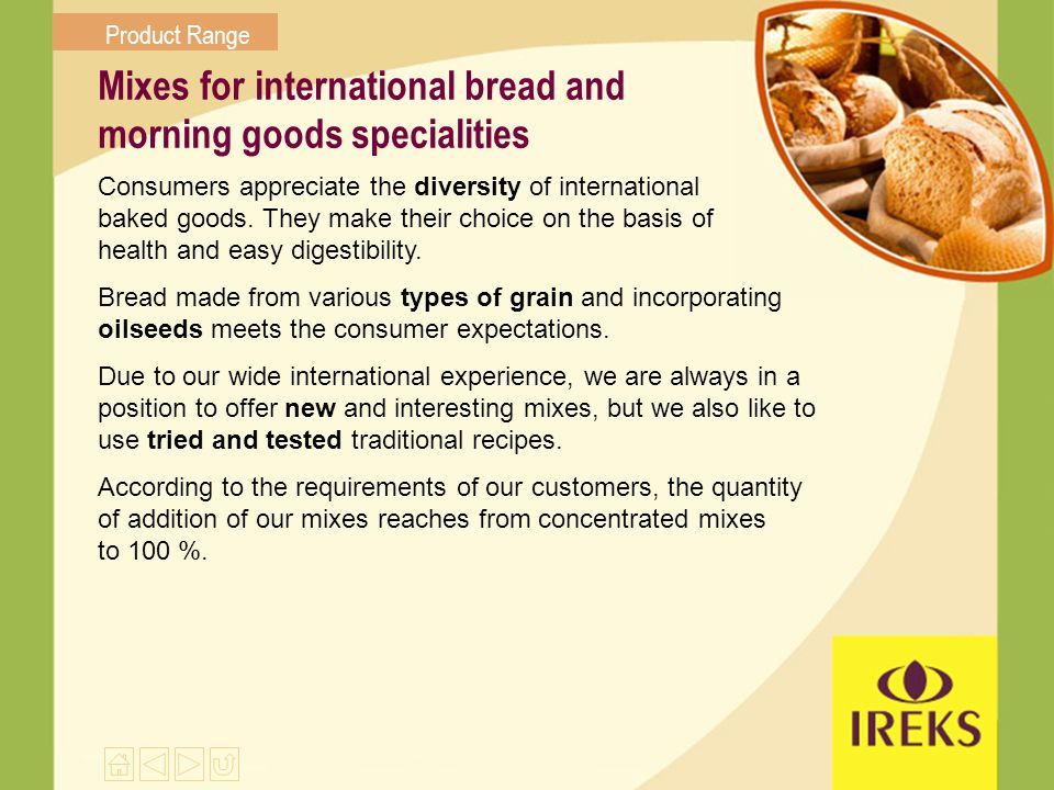 Mixes for international bread and morning goods specialities