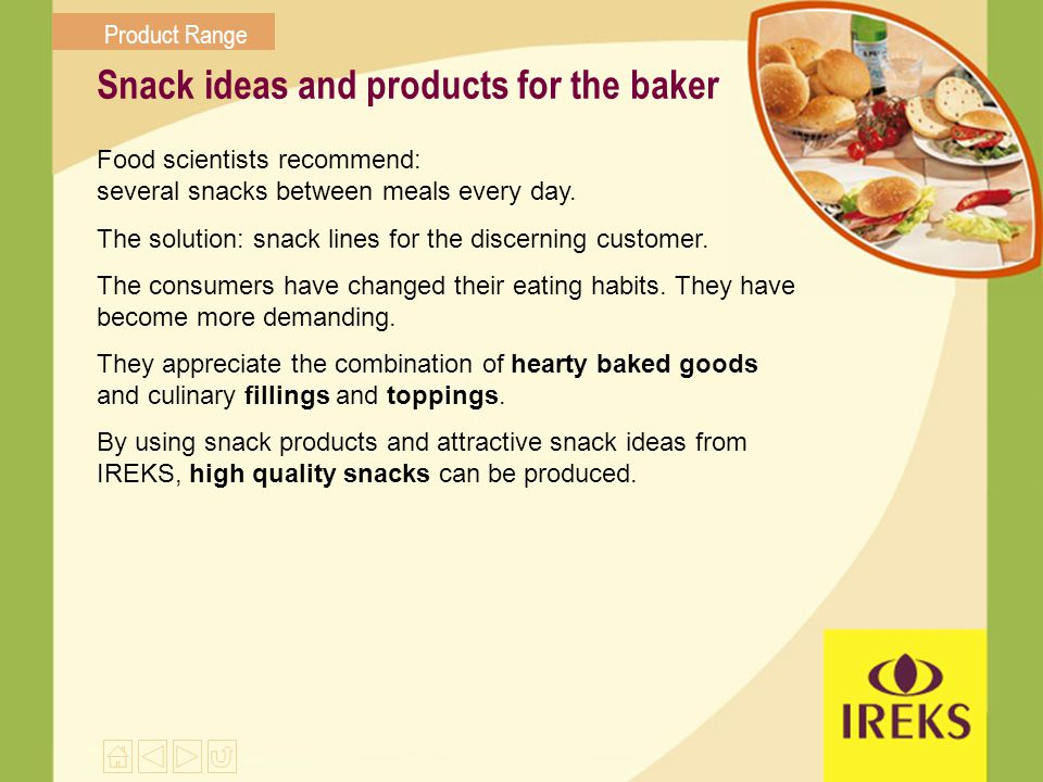 Snack ideas and products for the baker