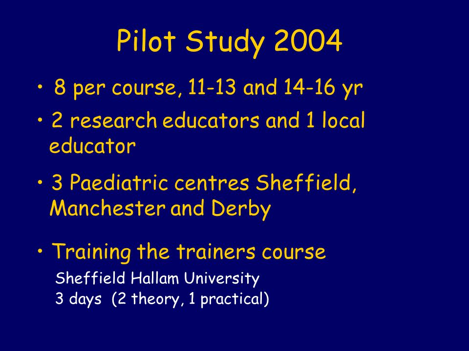 Pilot Study 2004 8 per course, 11-13 and 14-16 yr