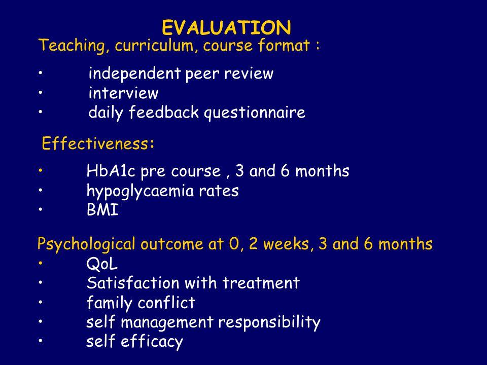 EVALUATION Teaching, curriculum, course format :