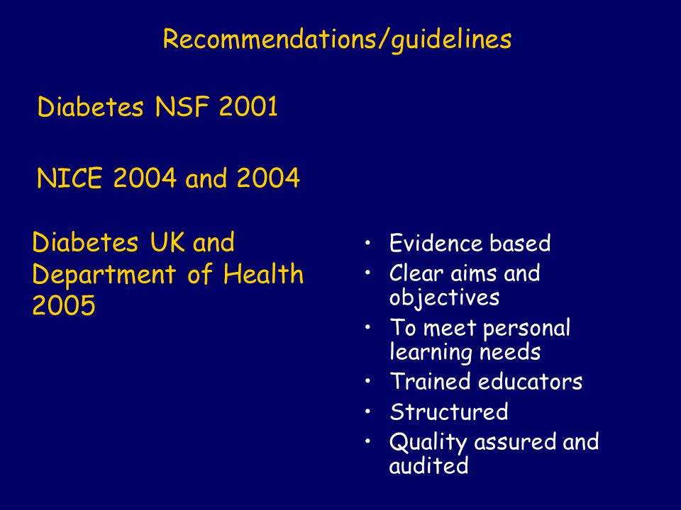 Diabetes UK and Department of Health 2005