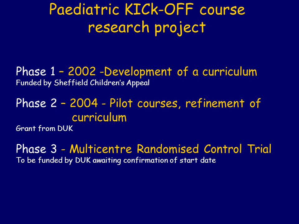 Paediatric KICk-OFF course research project