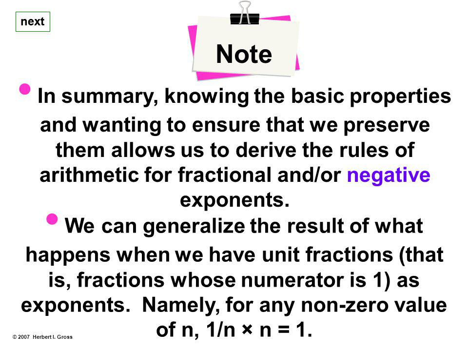 arithmetic for fractional and/or negative exponents.