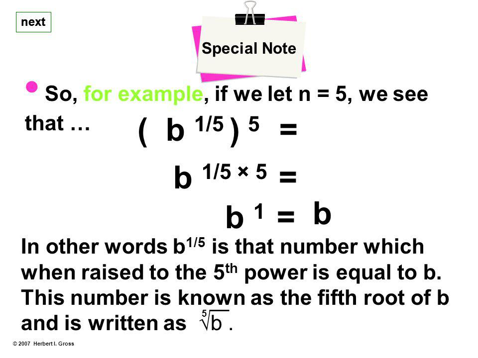 • So, for example, if we let n = 5, we see that …