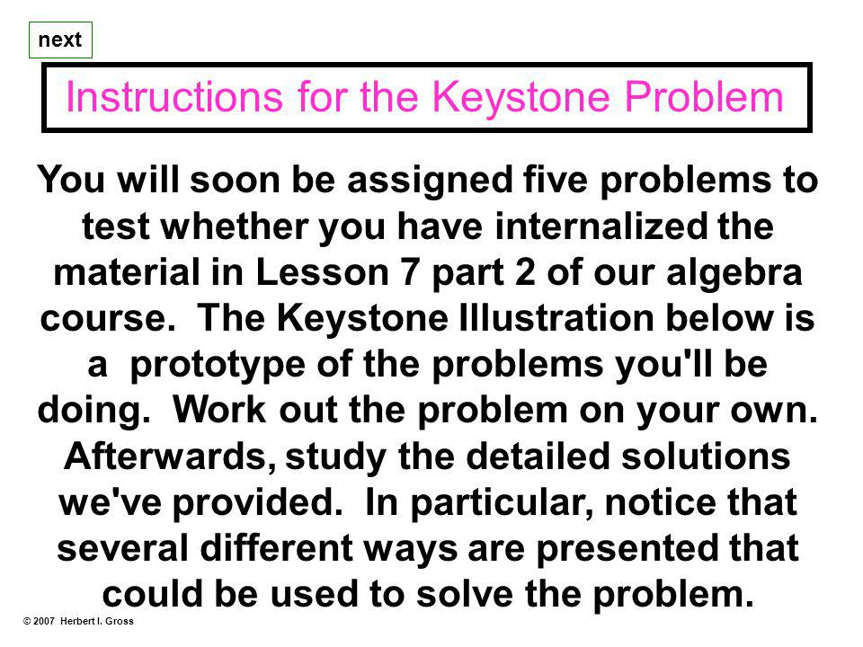 Instructions for the Keystone Problem