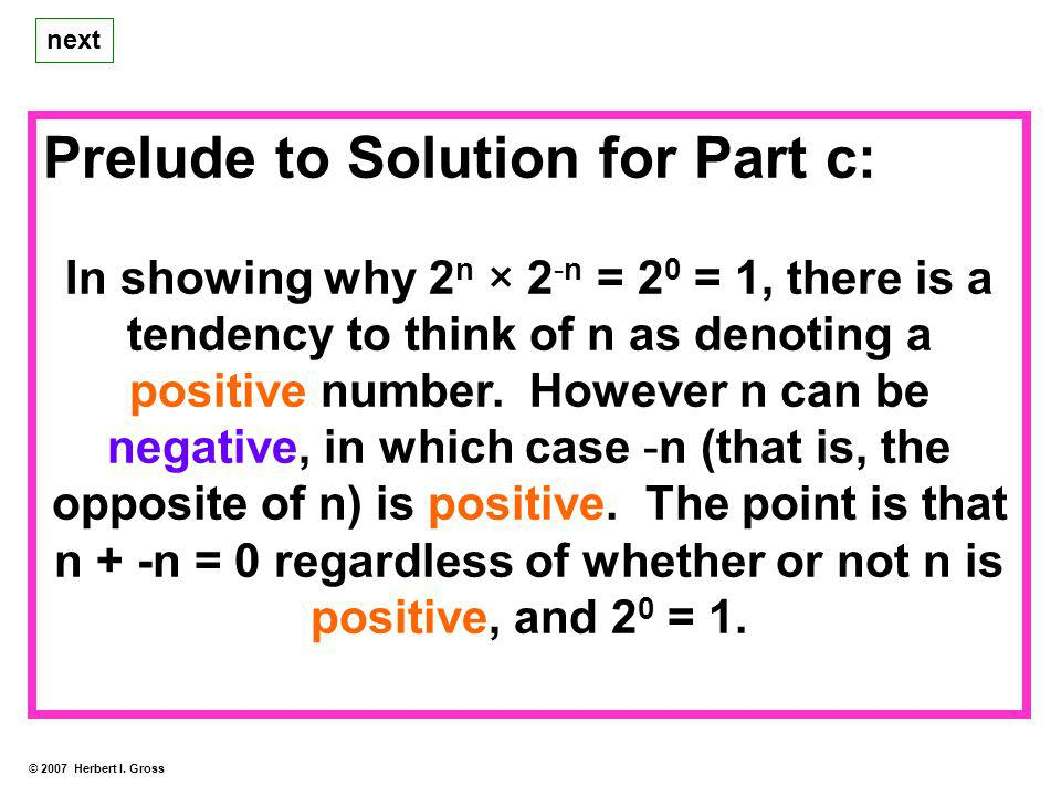 Prelude to Solution for Part c: