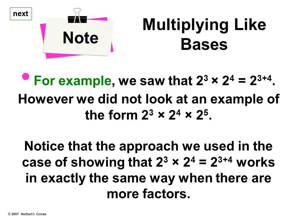 Multiplying Like Bases