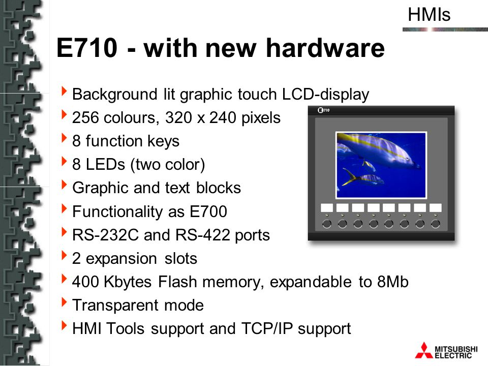E710 - with new hardware Background lit graphic touch LCD-display