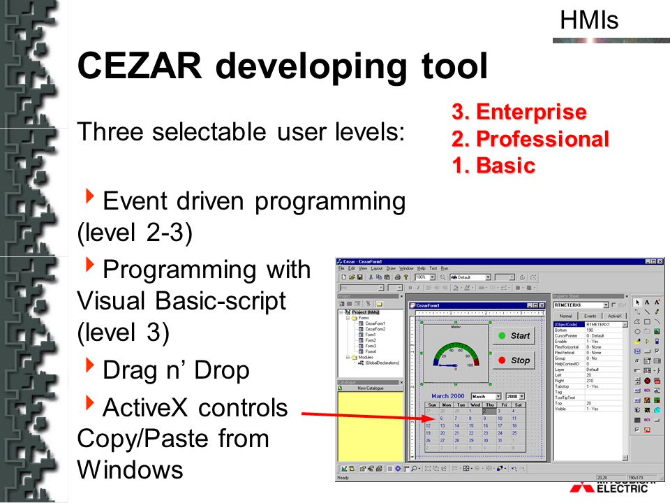 CEZAR developing tool Three selectable user levels: