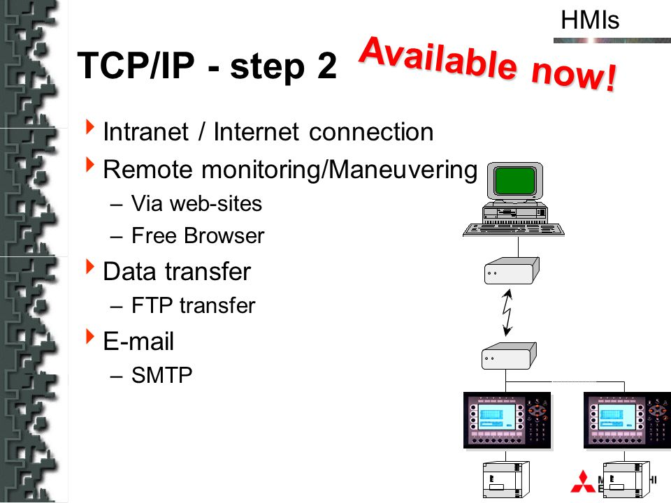 Available now! TCP/IP - step 2 Intranet / Internet connection