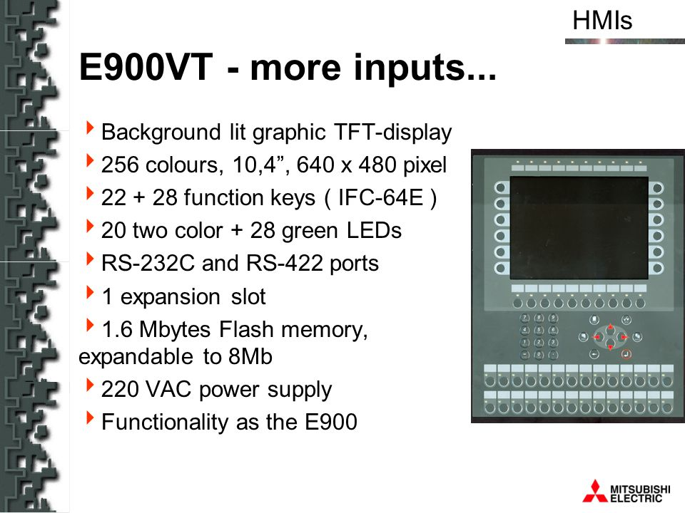 E900VT - more inputs... Background lit graphic TFT-display