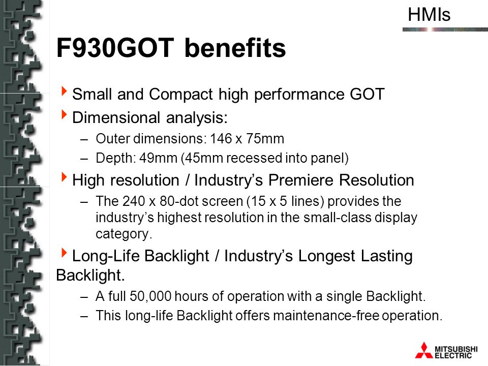 F930GOT benefits Small and Compact high performance GOT