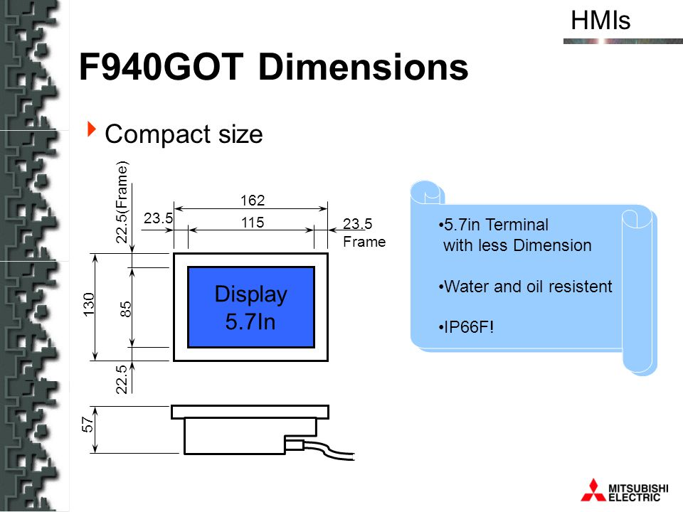 F940GOT Dimensions Compact size Display 5.7In
