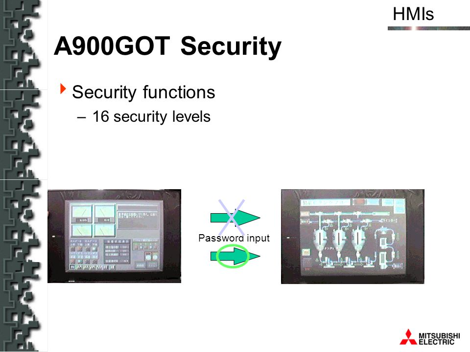 A900GOT Security Security functions 16 security levels Password input