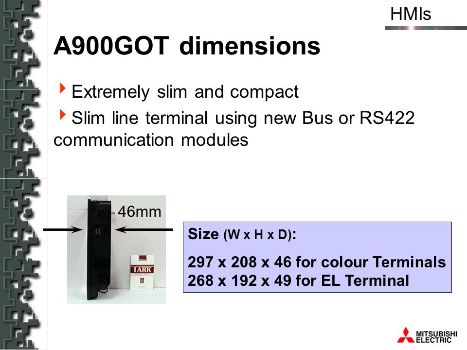 A900GOT dimensions Extremely slim and compact