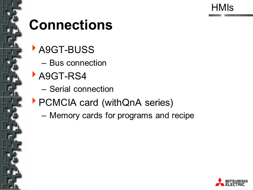 Connections A9GT-BUSS A9GT-RS4 PCMCIA card (withQnA series)