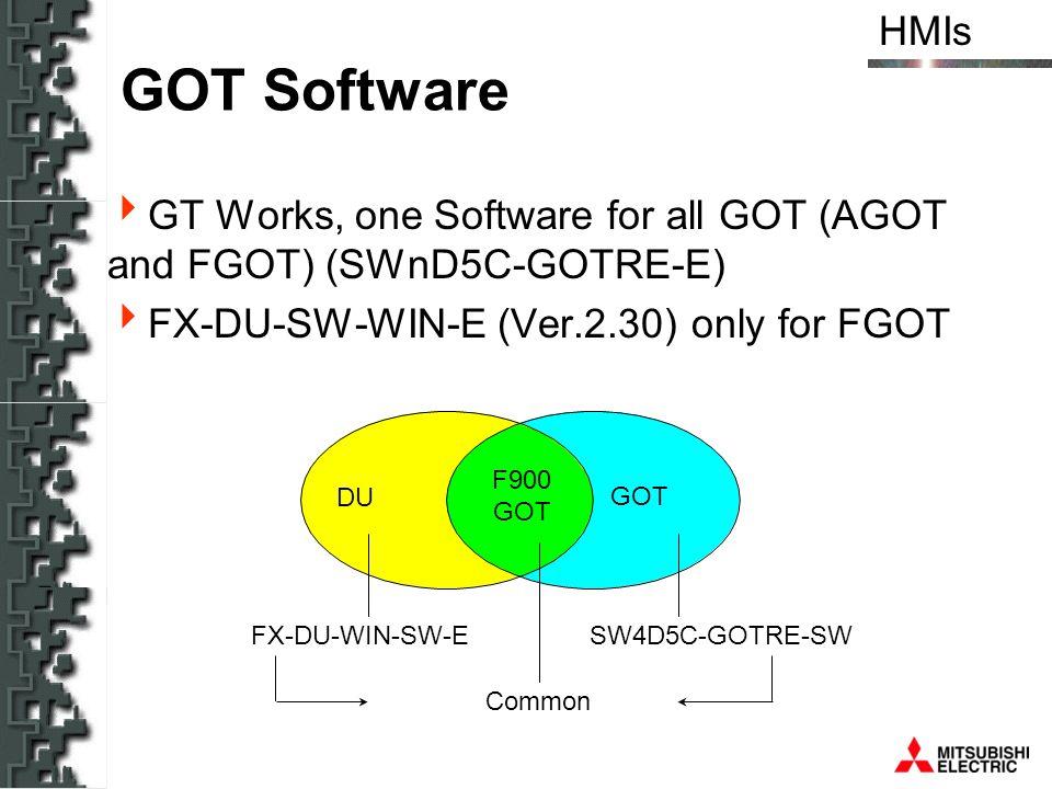 GOT Software GT Works, one Software for all GOT (AGOT and FGOT) (SWnD5C-GOTRE-E) FX-DU-SW-WIN-E (Ver.2.30) only for FGOT.