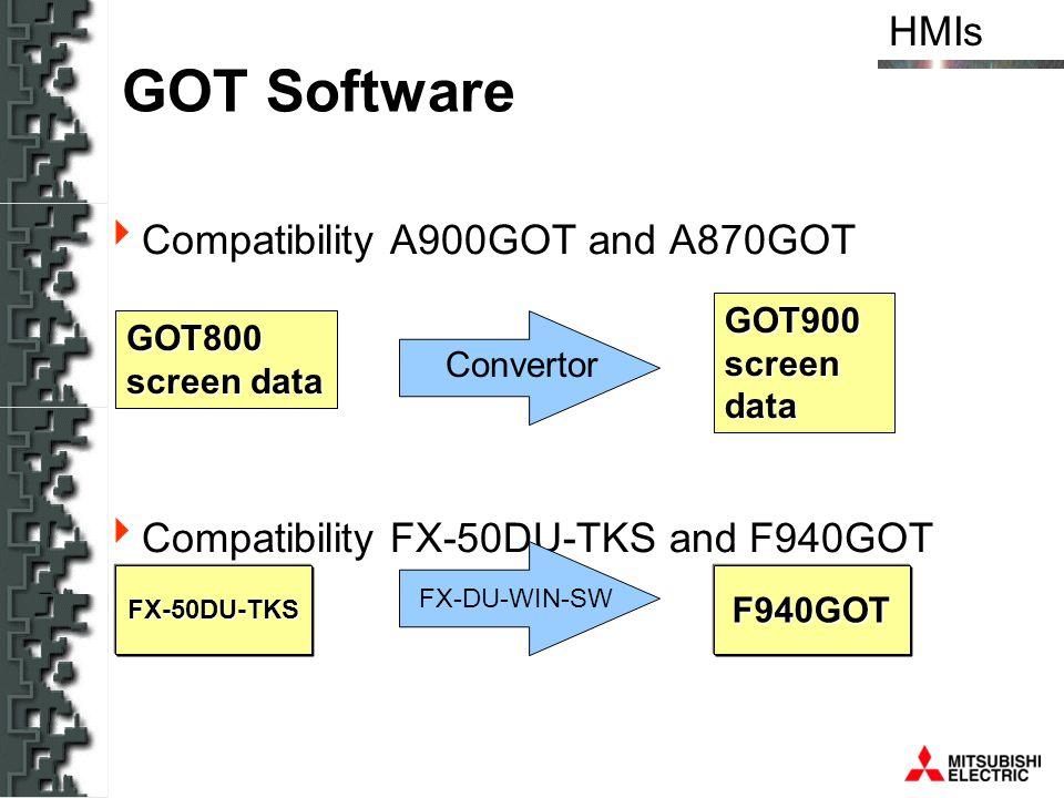 GOT Software Compatibility A900GOT and A870GOT