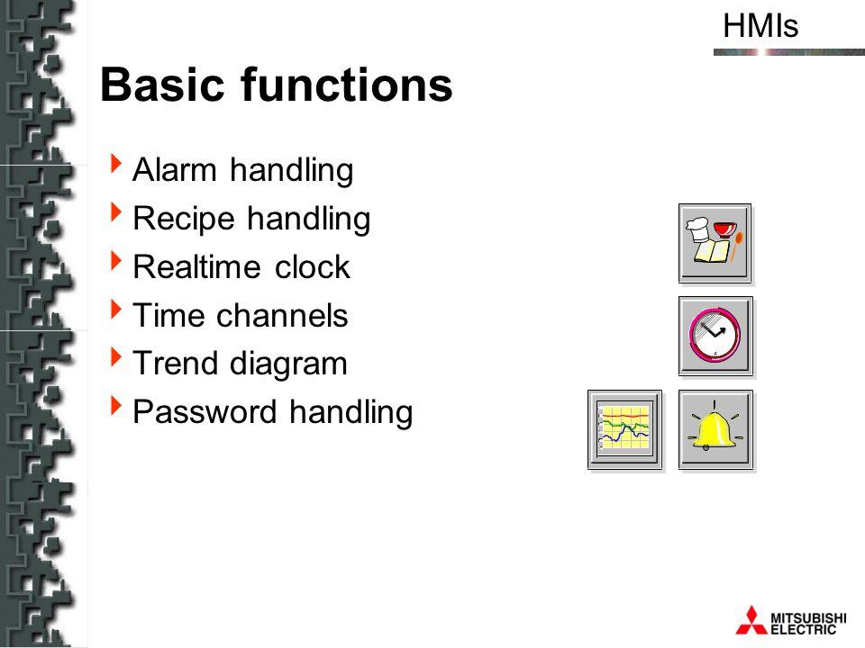 Basic functions Alarm handling Recipe handling Realtime clock