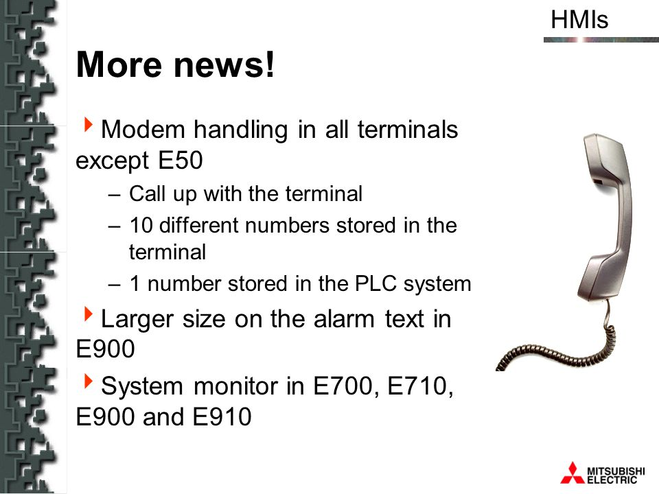 More news! Modem handling in all terminals except E50