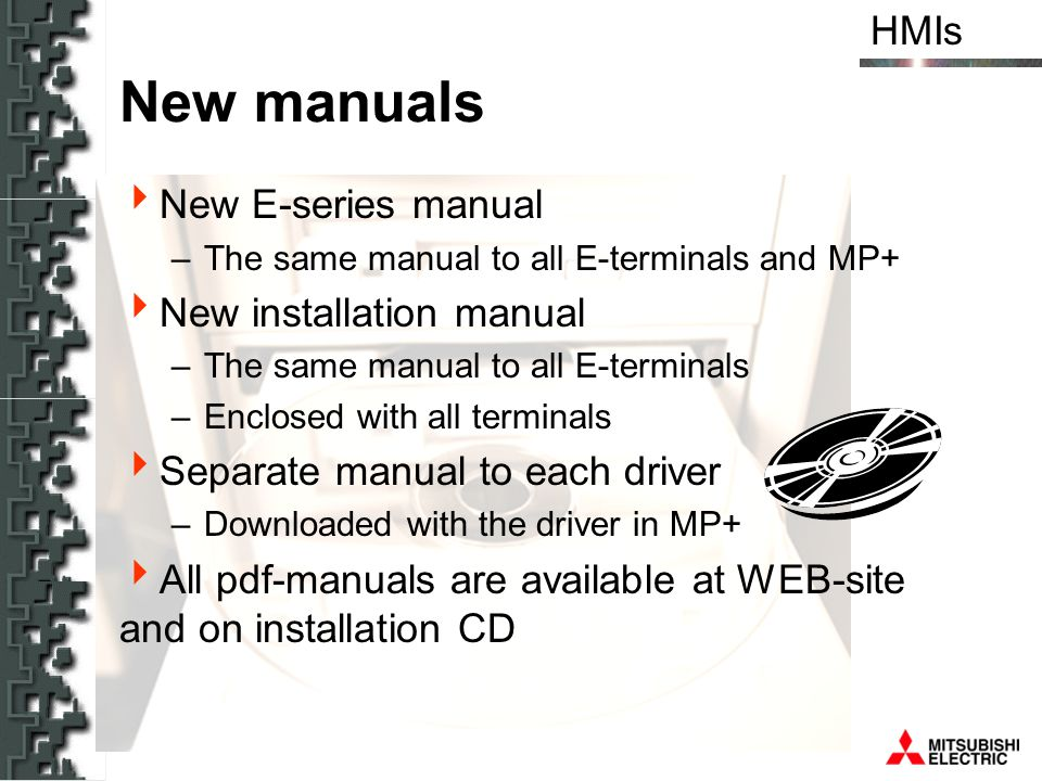 New manuals New E-series manual New installation manual