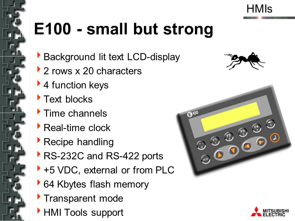 E100 - small but strong Background lit text LCD-display