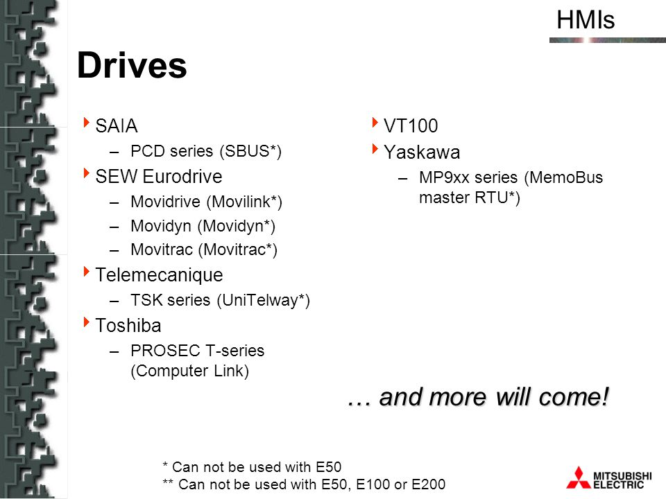Drives … and more will come! SAIA SEW Eurodrive Telemecanique Toshiba