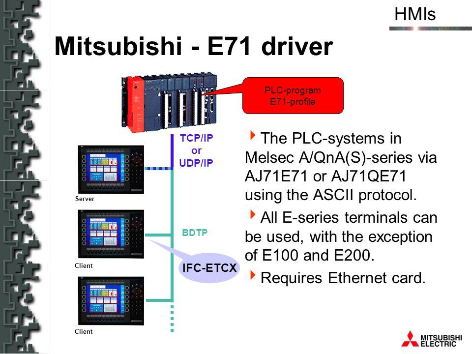 Mitsubishi - E71 driver PLC-program. E71-profile. The PLC-systems in Melsec A/QnA(S)-series via AJ71E71 or AJ71QE71 using the ASCII protocol.