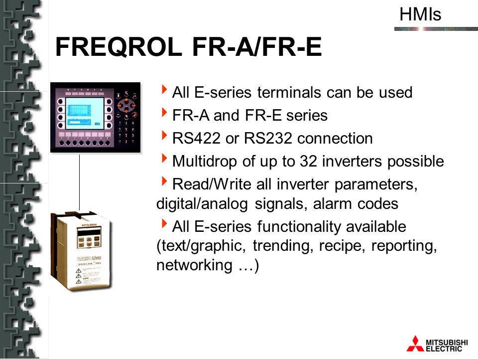 FREQROL FR-A/FR-E All E-series terminals can be used