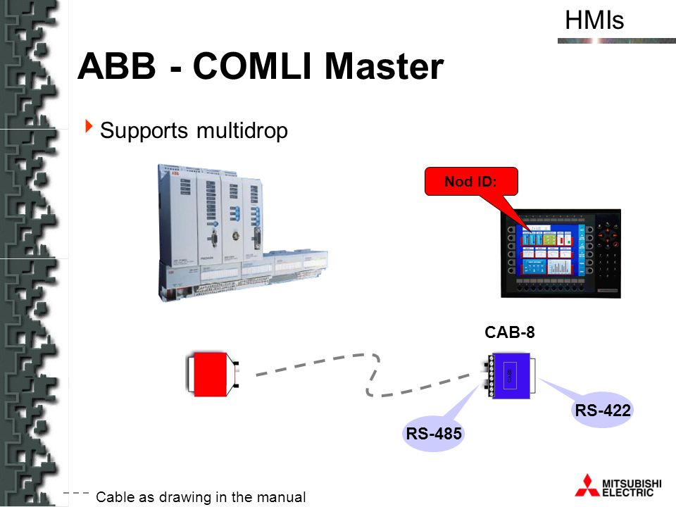 ABB - COMLI Master Supports multidrop CAB-8 RS-422 RS-485 Nod ID: