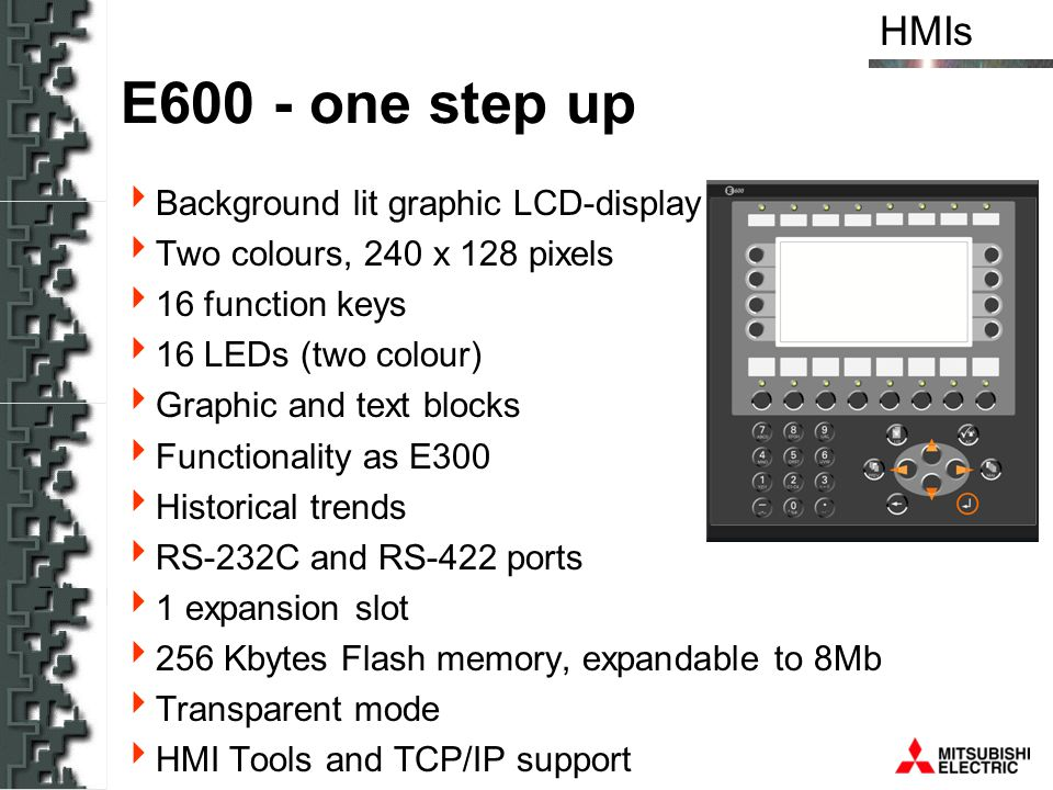 E600 - one step up Background lit graphic LCD-display