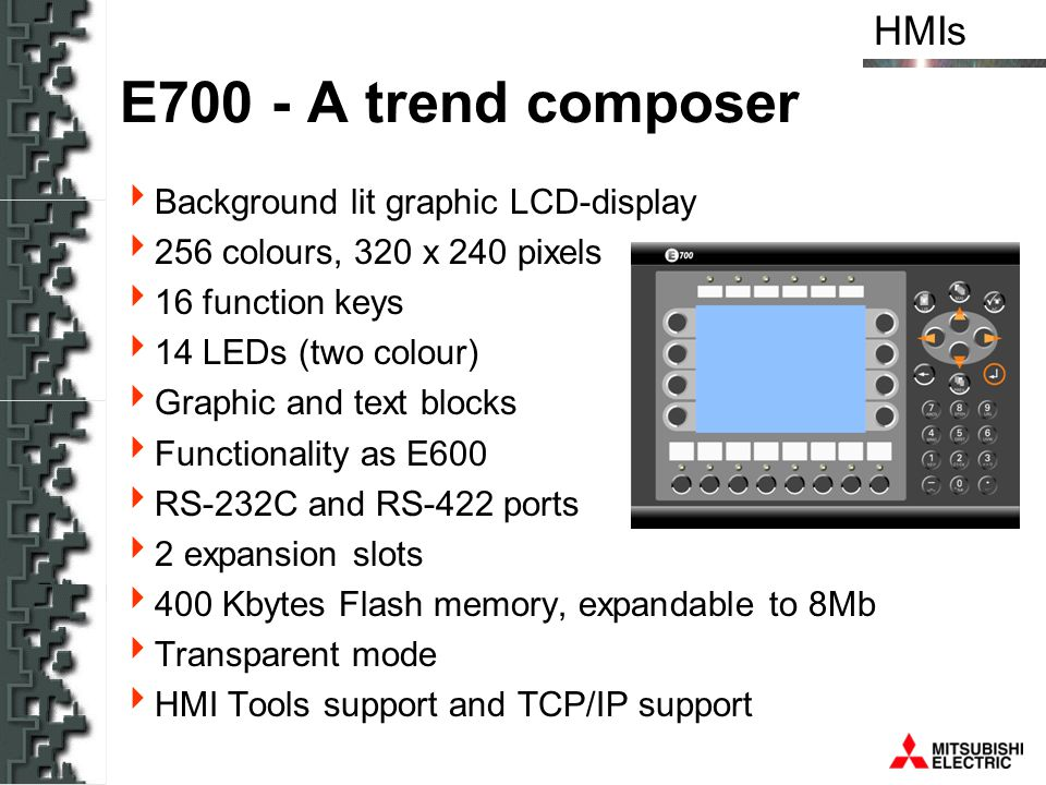 E700 - A trend composer Background lit graphic LCD-display