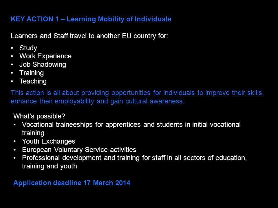 KEY ACTION 1 – Learning Mobility of Individuals