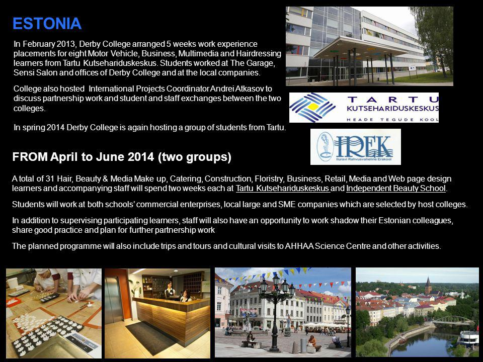 ESTONIA FROM April to June 2014 (two groups)