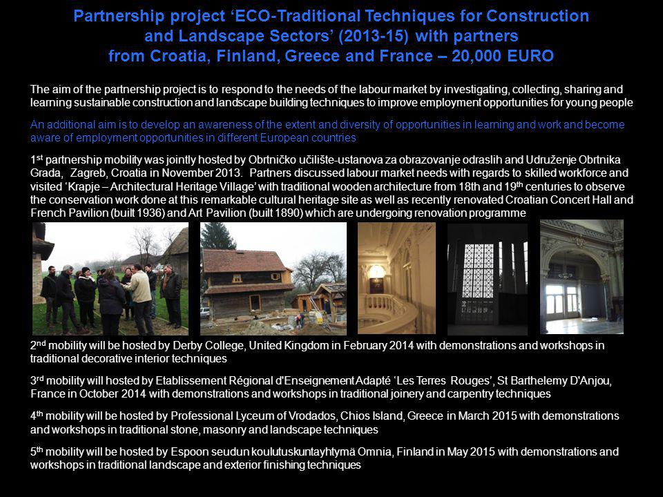 Partnership project 'ECO-Traditional Techniques for Construction