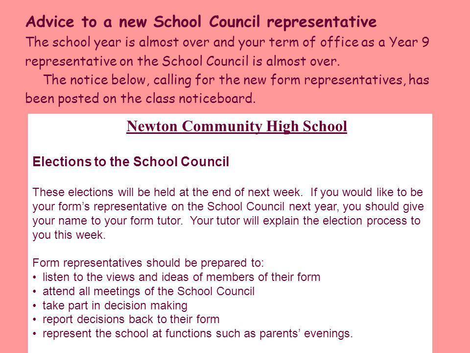 Advice to a new School Council representative