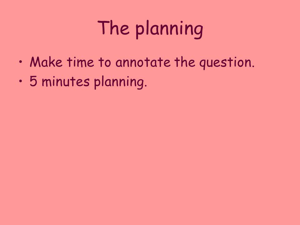 The planning Make time to annotate the question. 5 minutes planning.