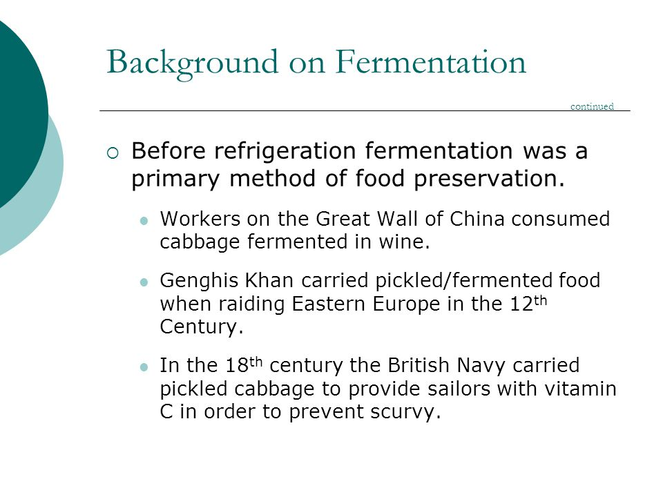 Background on Fermentation continued