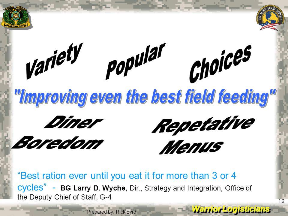Improving even the best field feeding