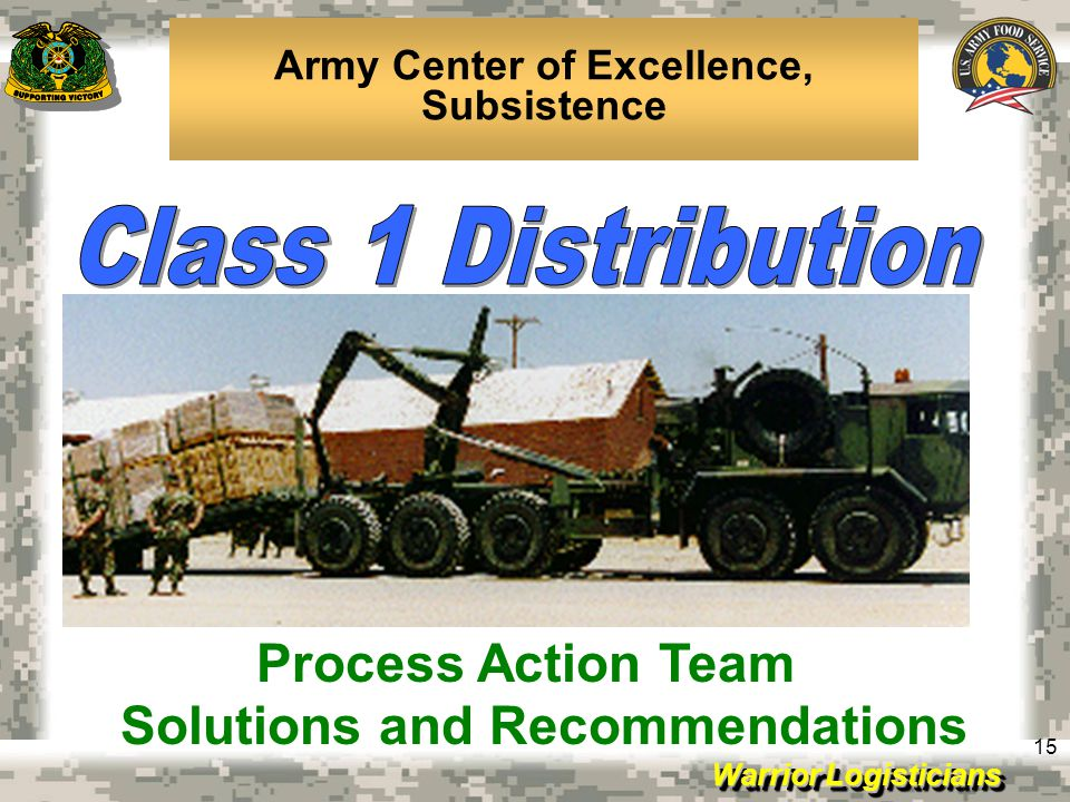 Army Center of Excellence, Subsistence Solutions and Recommendations