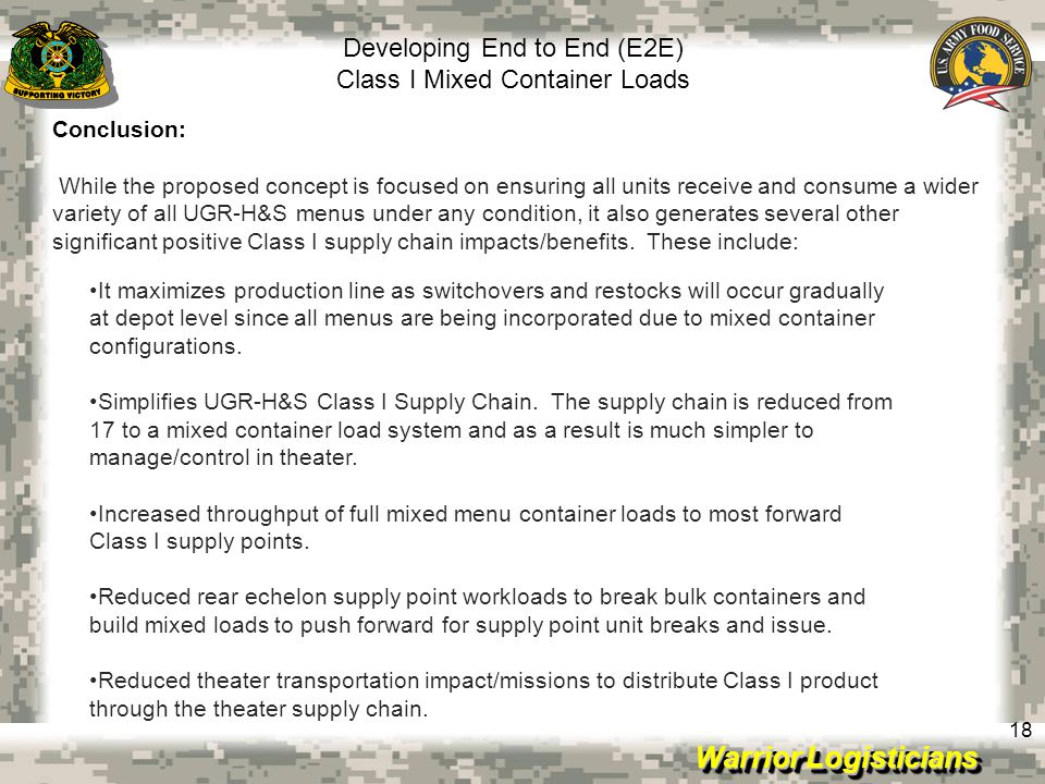 Developing End to End (E2E) Class I Mixed Container Loads