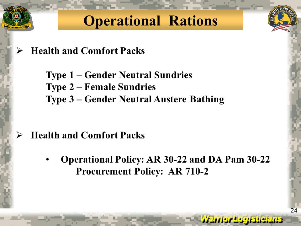 Operational Rations Health and Comfort Packs