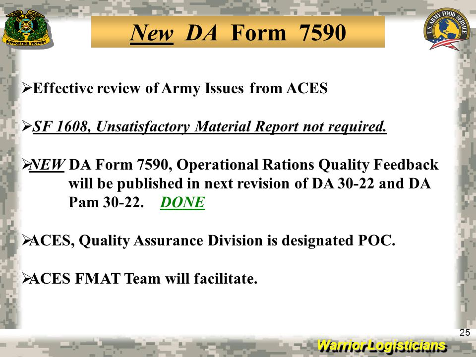 New DA Form 7590 Effective review of Army Issues from ACES