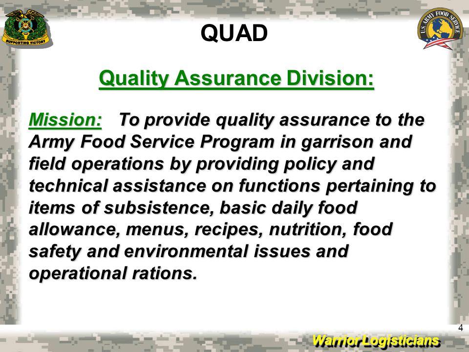 Quality Assurance Division: