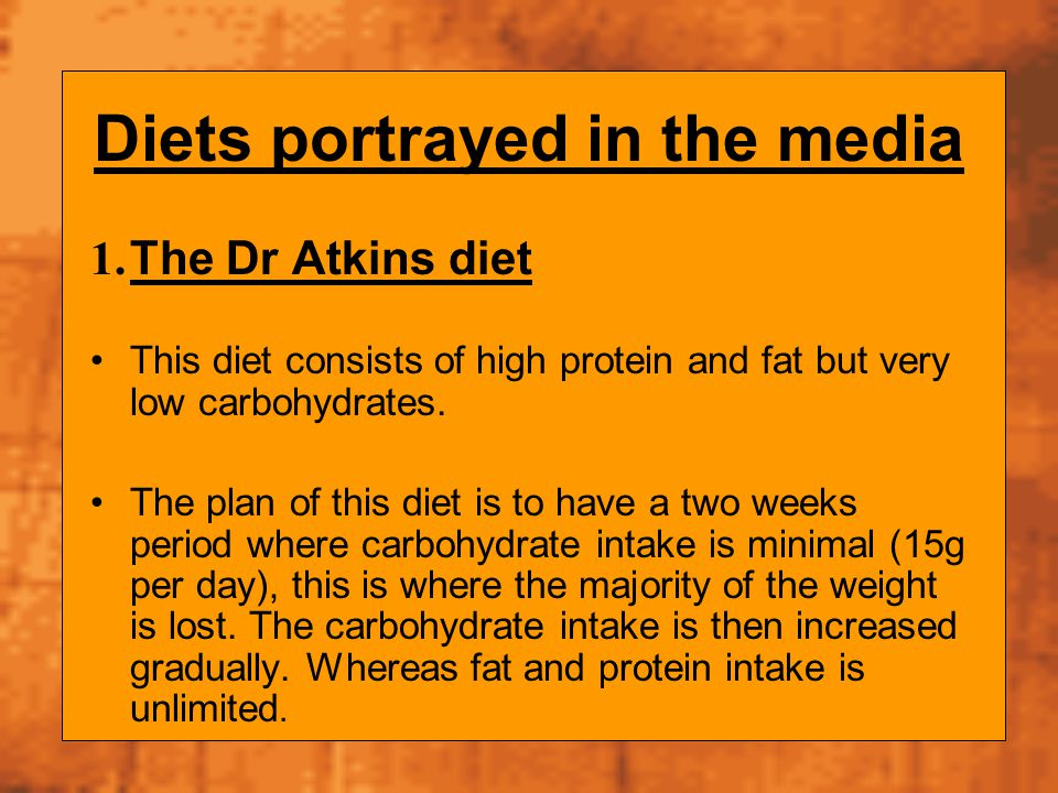 Diets portrayed in the media